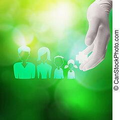 medizinischer doktor, hand holding, ikone, von, glückliche familie, mit, medizin, ca