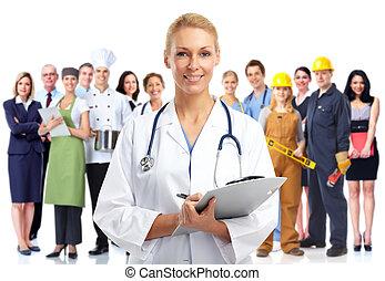medizinischer doktor, junger, woman.