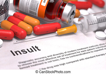 medizinisches konzept, medicament., insult., zusammensetzung