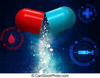 medizinisches konzept, pille, hintergrund