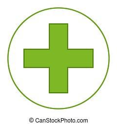 medizinisches symbol, grün, hell, kreuz