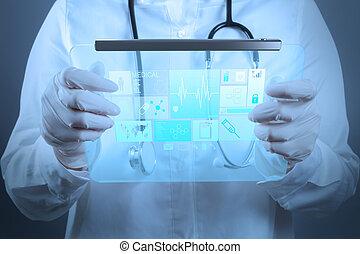 medizinprodukt, doktor, arbeitende , mit, modern, edv, schnittstelle