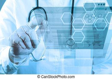 medizinprodukt, doktor, arbeitende , mit, modern, edv