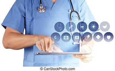 medizinprodukt, doktor, arbeitende , mit, modern, tablette,...