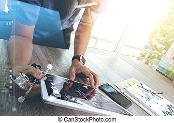 medizinprodukt, doktor, hand, arbeitende , mit, modern, digital tablette, edv, schnittstelle, als, medizin, vernetzung, begriff