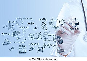 medizinprodukt, doktor, hand, arbeitende , mit, modern, edv, schnittstelle