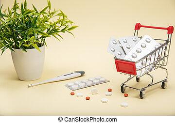 medizinprodukt, einkaufswagen, pillen