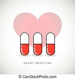 medizinprodukt, herz, kapsel, pille, zeichen