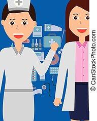 medizinprodukt, krankenschwester, besatzung, weiblicher doktor