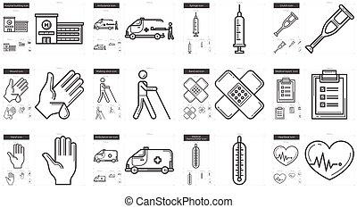 medizinprodukt, linie, ikone, set.