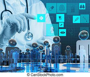 medizinprodukt, modern, edv, arbeitende , doktor