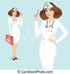 medizinprodukt, spritze, brust, krankenschwester
