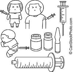 medizinprodukt, spritze, vektor, satz