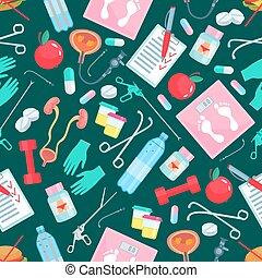 medizinprodukt, und, gesundheit, posten, seamless, muster