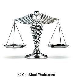 medizinprodukt, und, justice., caduceus, symbol, als, skalen., begrifflich, imag