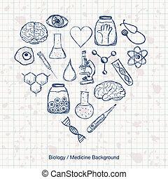 medizinprodukt, wissenschaft, biologie, oder, hintergrund