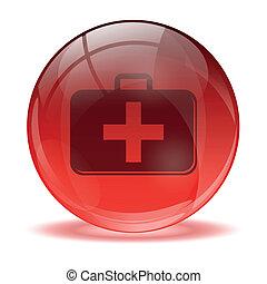 medkit, esfera, ícone, 3d, vidro