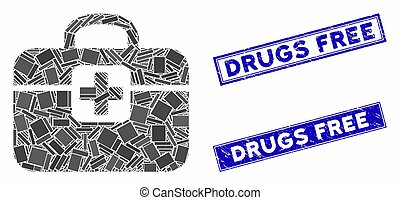 Medkit Mosaic and Distress Rectangle Drugs Free Stamps