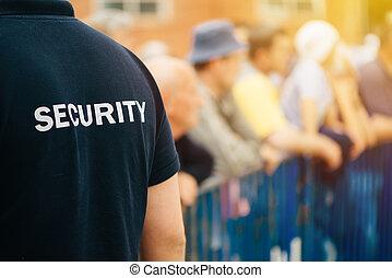 medlem, i, security bevogt, hold, på, almenheden, begivenhed