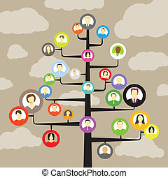 medlemmer, abstrakt, træ, avatars, samfund