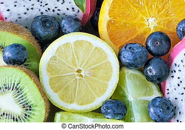 Medley of different edible fruits ready to eat