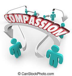 medlidande, sammanhängande, folk, visande, sympati,...
