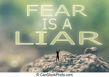 medo, é, um, mentiroso