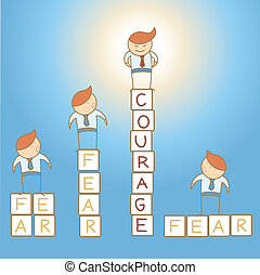 medo, coragem, homem negócio, caricatura, personagem,...