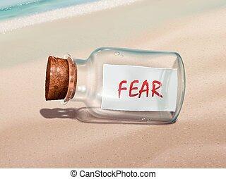 medo, mensagem, garrafa