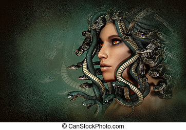 Medusa, 3d CG - 3d computer graphics of a portrait of the...