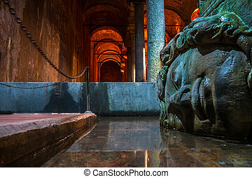 Famous Medusa's head in the Basilica cistern in Istanbul