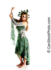 Beautiful 30 year old woman in medusa costume over white background.