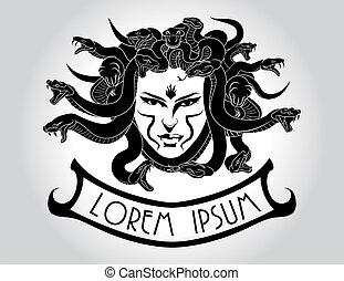 medusa, cabeza, hair., gorgona, serpiente