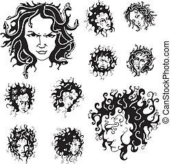 Medusa faces. Set of black and white vector illustrations.