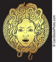 Medusa Gorgon golden head on a shield hand drawn line art print design isolated vector illustration. Gorgoneion is a protective amulet