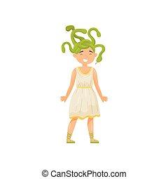 Medusa Gorgon, mythical creature, element of greek mythology vector Illustration isolated on a white background.