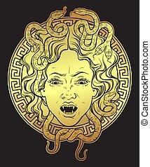 medusa, gorgona, mano, diseño, dibujado