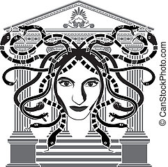 medusa, gorgona, plantilla, templo