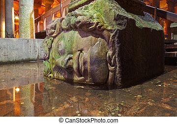 Medusa head at Underground water Basilica Cistern - Istanbul...