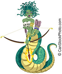 The mythical Gorgon Medusa on white background. No transparency and gradients used.