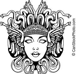 medusa, portret, gorgona