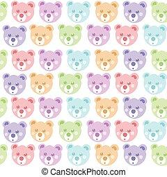 medvídek, seamless, pattern.