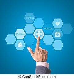 medycyna, doktor, ręka, pracujący, z, nowoczesny, komputer, interfejs, jak, medyczne pojęcie