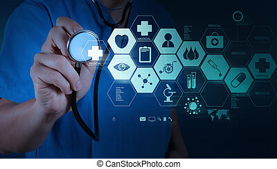 medycyna, doktor, ręka, pracujący, z, nowoczesny, komputer, interfejs