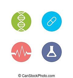 medycyna, logos, temat, komplet, health.