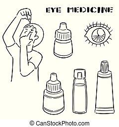 medycyna, oko, wektor, komplet