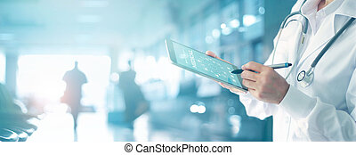 medycyna, pojęcie, sieć, tabliczka, doktor, medyczny, nowoczesny, tło., połączenie, dotykanie, stetoskop, cyfrowy, interfejs, technologia, szpital, ikona