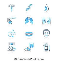 medycyna, seria, marynarka, |, ikony