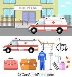 medyczna ilustracja, z, szpital, i, ambulans, wóz.