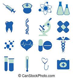 medyczna ilustracja, zbiór, ikony